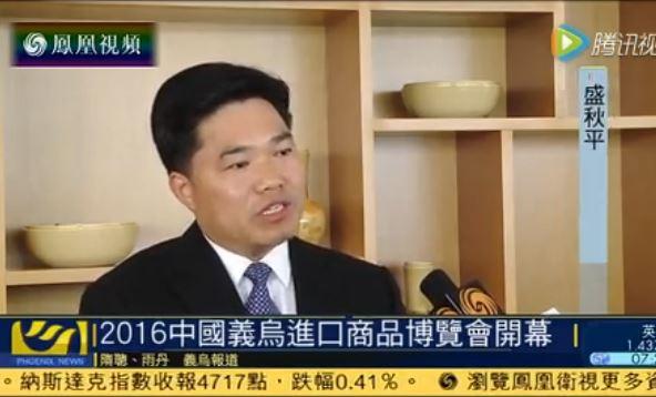 """凤凰卫视专访盛秋平:对接""""一带一路"""" 培育进口贸易"""