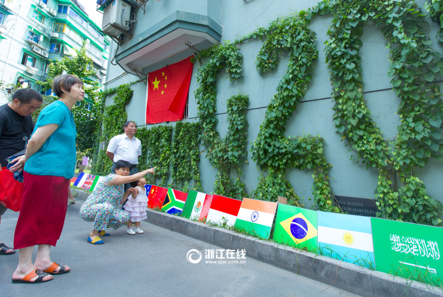"""杭州大叔有创意!藤蔓墙画迎""""G20""""盛会"""