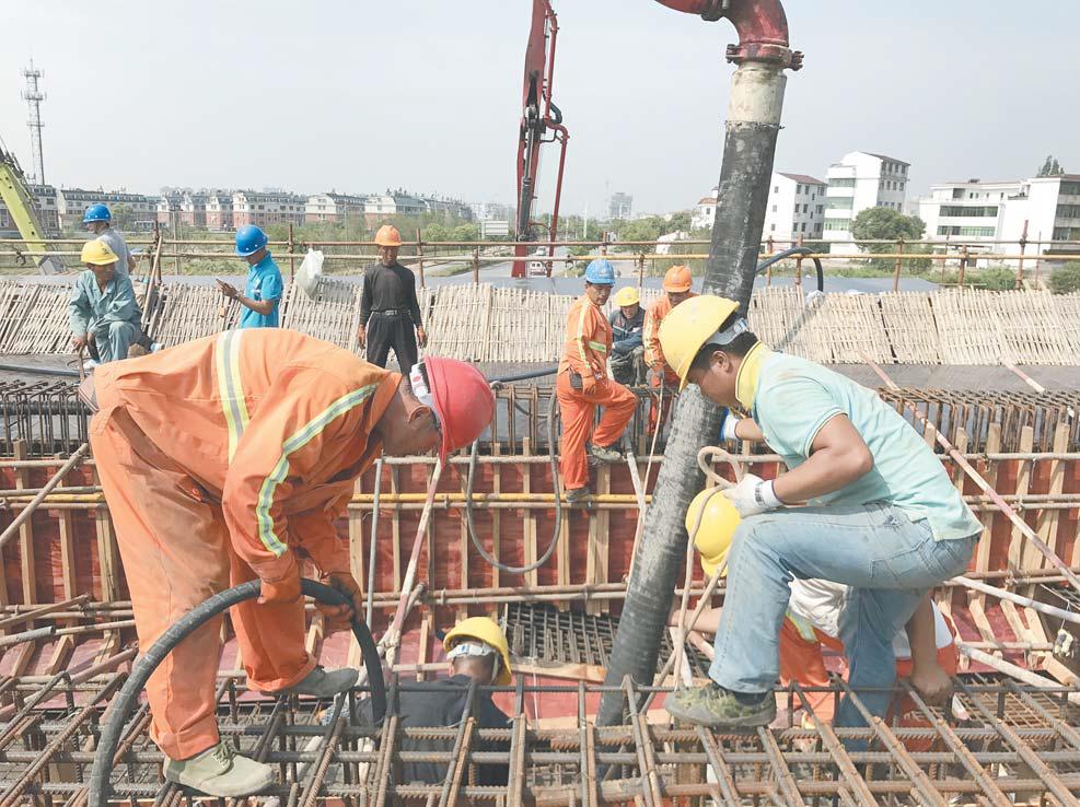东萧公路香溪互通进入浇筑阶段