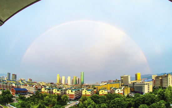 美!雷阵雨过后,义乌现双彩虹