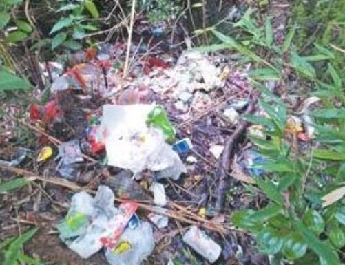 """游客乱扔垃圾 景区处理不及时 部分山水景点依然存在""""垃圾山"""""""