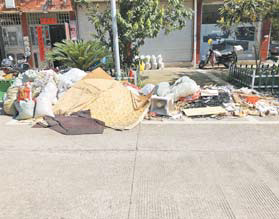 稠江街道童店二区:树上晾晒被褥 垃圾随意堆放