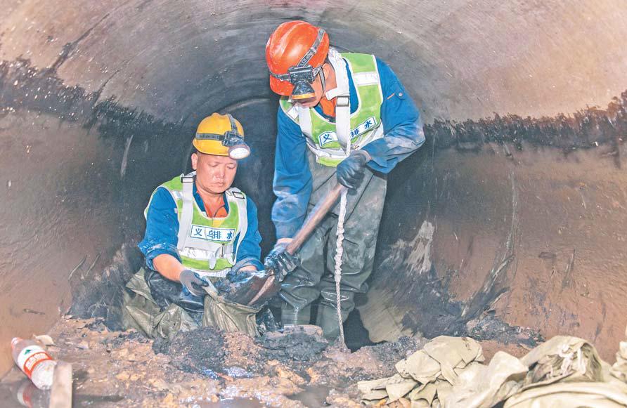 义乌兴隆大街污水主管历时72小时完成清淤