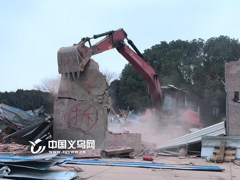 义乌幸福湖城市绿肺区整治势如破竹 一天拆除4万平方米