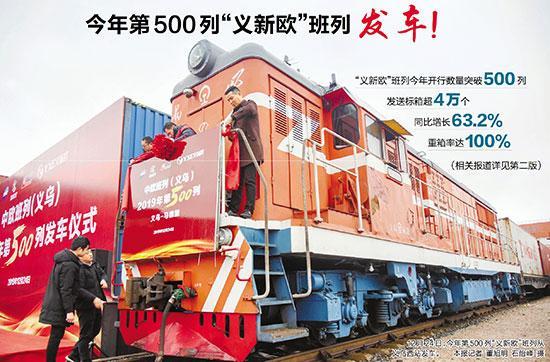 """【浙报头版】今年第500列""""义新欧""""班列发车!"""