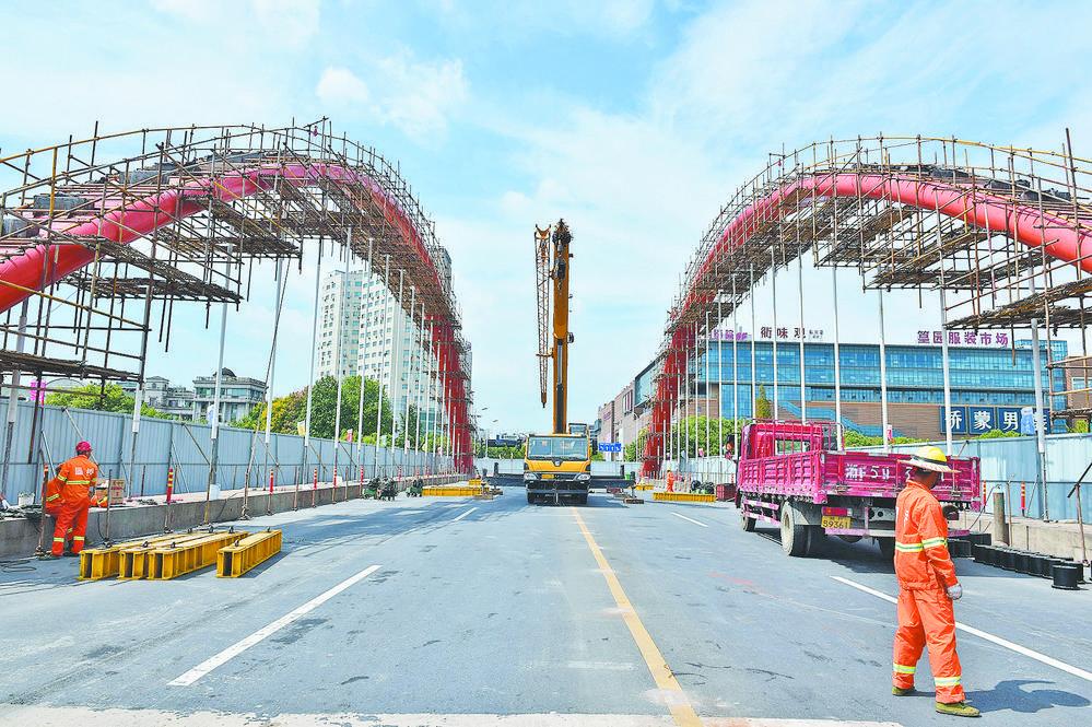 义乌篁园大桥实施全封闭维护施工